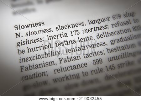 Cleckheaton, West Yorkshire, Uk: Thesauras Page Showing Definition Of Word Slowness, 30th March 2005