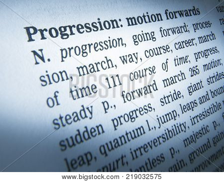 Cleckheaton, West Yorkshire, Uk: Thesauras Page Showing Definition Of Word Progression, 30th March 2