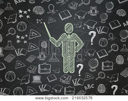 Education concept: Chalk Green Teacher icon on School board background with  Hand Drawn Education Icons, School Board