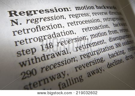 Cleckheaton, West Yorkshire, Uk: Thesauras Page Showing Definition Of Word Regression, 30th March 20