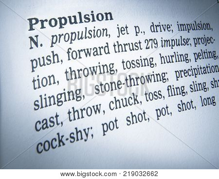 Cleckheaton, West Yorkshire, Uk: Thesauras Page Showing Definition Of Word Propulsion, 30th March 20