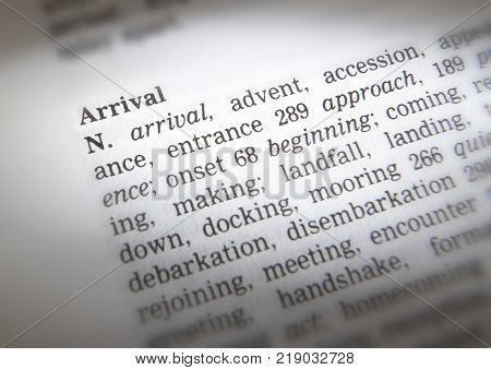 Cleckheaton, West Yorkshire, Uk: Thesaurus Page Showing Definition Of Word Arrival, 30th March 2005,