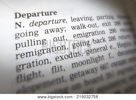 Cleckheaton, West Yorkshire, Uk: Thesaurus Page Showing Definition Of Word Departure, 30th March 200