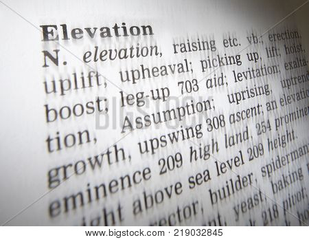 Cleckheaton, West Yorkshire, Uk: Thesaurus Page Showing Definition Of Word Elevation, 30th March 200
