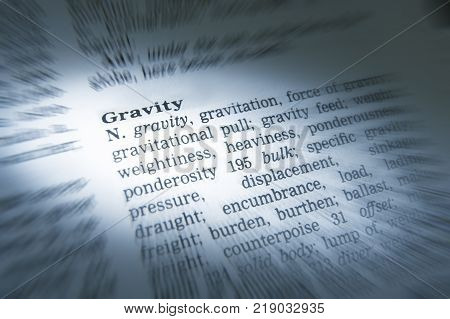Cleckheaton, West Yorkshire, Uk: Thesaurus Page Showing Definition Of Word Gravity, 30th March 2005,