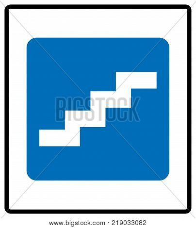 Stair up sign. Vector illustration isolated on white. White simple pictogram icon in blue rectangle at white background. Mandatory informational symbol for public places.