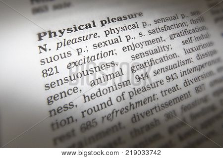 Cleckheaton, West Yorkshire, Uk: Thesaurus Page Showing Definition Of Words Physical Pleasure, 30th