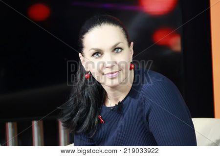 Belarus Gomel September 29 2016. Photographing the transfer of local television. Belorussian presenter Svetlana Borovskaya