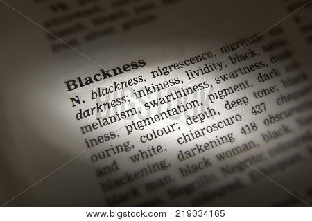 Cleckheaton, West Yorkshire, Uk: Thesaurus Page Showing Definition Of Word Blackness, 30th March 200