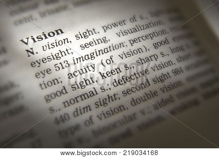 Cleckheaton, West Yorkshire, Uk: Thesaurus Page Showing Definition Of Word Vision, 30th March 2005,