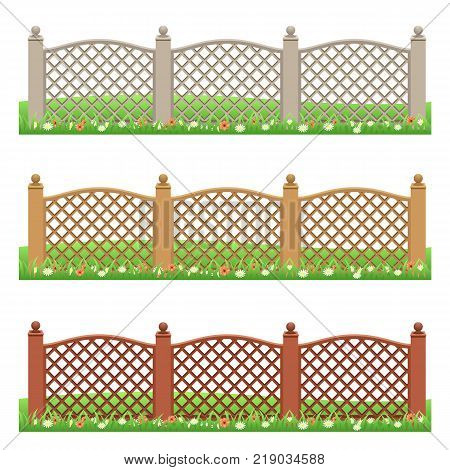 Set of farm or garden fences isolated on white background with grass and flowers. Front view can be used as scene elements for game or cartoon asset. Vector illustration