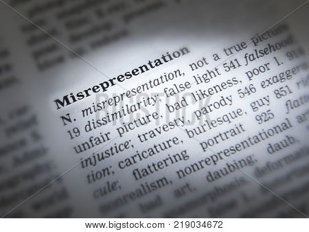 Cleckheaton, West Yorkshire, Uk: Thesaurus Page Showing Definition Of Word Misrepresentation, 30th M