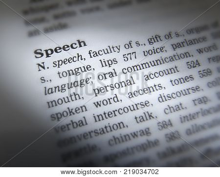Cleckheaton, West Yorkshire, Uk: Thesaurus Page Showing Definition Of Word Speech, 30th March 2005,