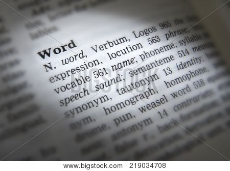 Cleckheaton, West Yorkshire, Uk: Thesaurus Page Showing Definition Of The Word Word, 30th March 2005