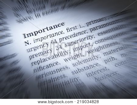 Cleckheaton, West Yorkshire, Uk: Thesaurus Page Showing Definition Of Word Importance, 30th March 20