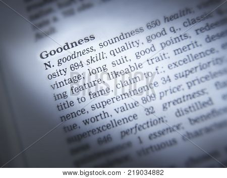 Cleckheaton, West Yorkshire, Uk: Thesaurus Page Showing Definition Of Word Goodness, 30th March 2005