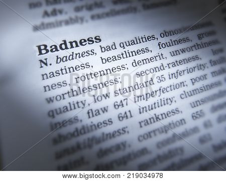CLECKHEATON, WEST YORKSHIRE, UK: THESAURUS PAGE SHOWING DEFINITION OF WORD BADNESS, 30TH MARCH 2005, CLECKHEATON, WEST YORKSHIRE, UK