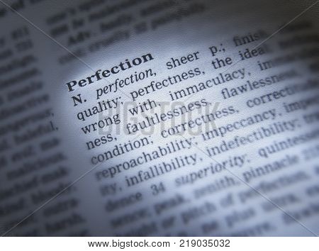 CLECKHEATON, WEST YORKSHIRE, UK: THESAURUS PAGE SHOWING DEFINITION OF WORD PERFECTION, 30TH MARCH 2005, CLECKHEATON, WEST YORKSHIRE, UK