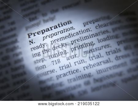 CLECKHEATON, WEST YORKSHIRE, UK: THESAURUS PAGE SHOWING DEFINITION OF WORD PREPARATION, 30TH MARCH 2005, CLECKHEATON, WEST YORKSHIRE, UK