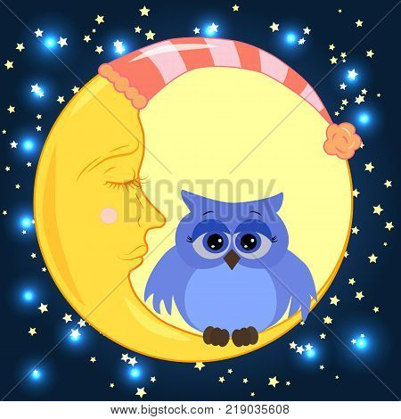 A lovely cartoon owl with sad eyes sits on a drowsy crescent moon against the background of the night sky with stars