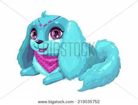 Little cute cartoon blue fluffy puppy with long ears. Pretty dog girl, vector isolated icon. Princess pet.