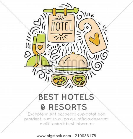 Best Hotel and resortes vector icon concept. champagne glasses, hotel attribute hand draw cartooning style, in one round form with decorative elements. Hotel and Resort doodle icons isolated on white background
