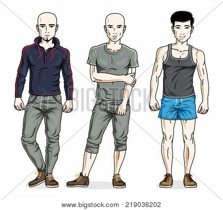 Confident handsome men standing in stylish sportswear sportsman and fitness people. Vector diverse people illustrations set.
