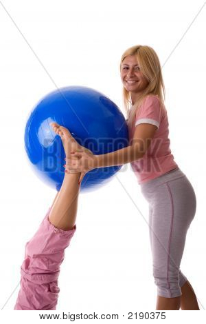 Fitness Instructor Helps Fitness Girl