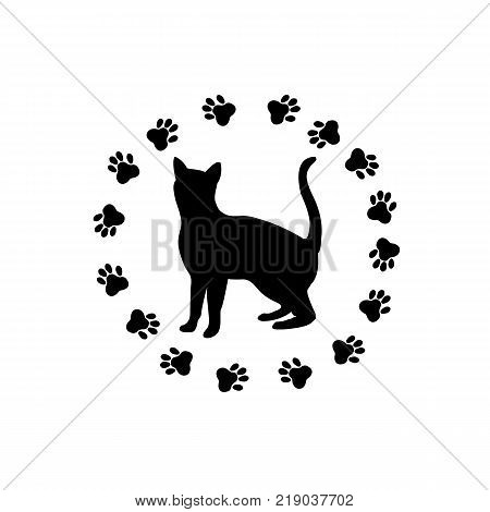Icon of a black cat traces of a cat's paws