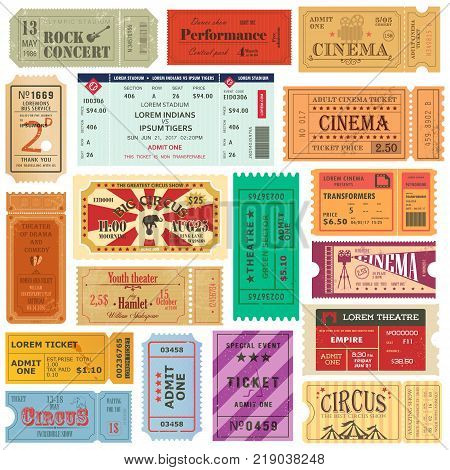 Set of isolated tickets or coupons for movie or film at cinema, theater or theatre, rock concert or entertainment music performance, circus passes on paper. Festival and premiere entrance passes