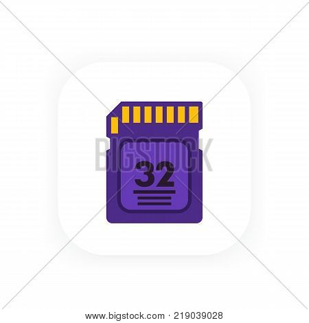 SD card icon in flat style, eps 10 file, easy to edit