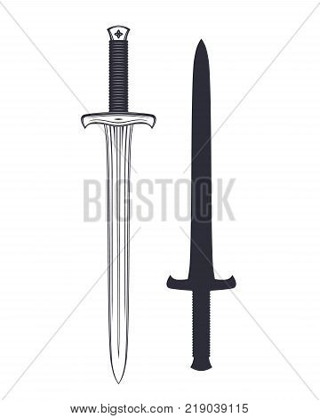 medieval sword isolated over white, eps 10 file, easy to edit