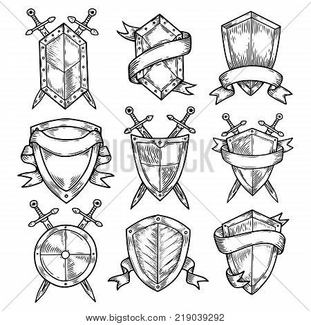 Set of isolated sketches of empty or blank round shields with ribbons and swords. Royal or knight badges, vintage or retro, old or medieval signs. Insurance and defense insignia, heraldry theme