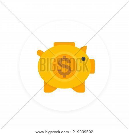 moneybox icon, savings sign, money box pig, piggy bank, flat style