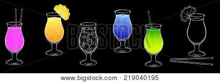 A set of images of cocktails with ice on a black background. A glass for Pina Kolada. Refreshing, summer cocktails, straw, a slice of pineapple, fruit cocktails. Crazy cocktails Vector Eps10