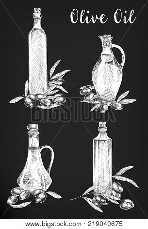 Photo negatives sketches of olive oil bottles. Natural and organic liquid in glassware bulb jar. Set of isolated bottle with cork of greek and mediterranean drink or paint. Vegetarian nutrition theme