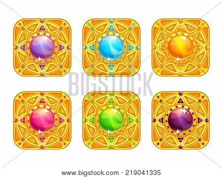 Beautiful golden square items with colorful glossy crystal in the middle. App icons for game or web design. Vector GUI assets set, isolated on white background.