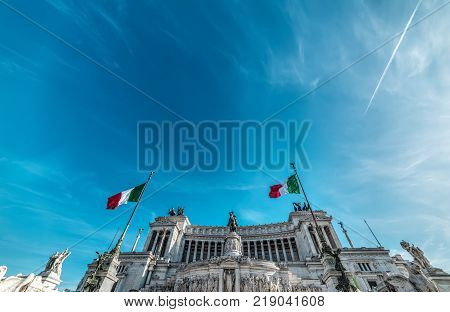 Altar of the fatherland under a blue sky. Rome Italy