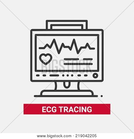 ECG tracing - line design single isolated icon on white background. High quality black pictogram with description. Monitor with electrocardiogram. Healthcare, medical help concept