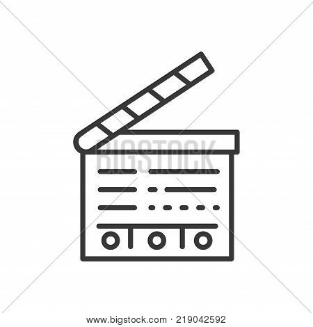 Clapperboard - line design single isolated icon on white background. High quality black pictogram. An image of a film-making instrument, tool. Cinematography concept