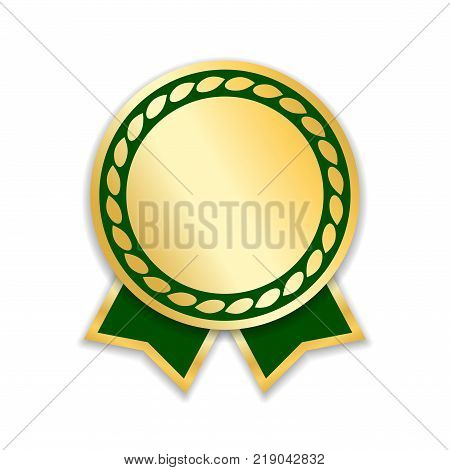 Award ribbon isolated. Gold green design medal label badge certificate. Symbol best sale price quality guarantee or success achievement. Golden ribbon award decoration Vector illustration