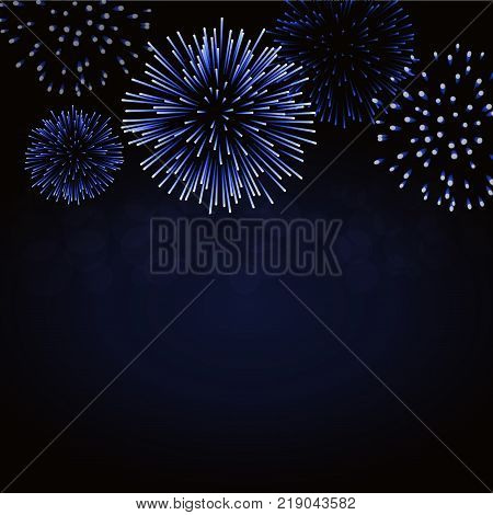 Firework sparkle background card. Beautiful bright fireworks isolated on black background. Light blue decoration fireworks for Christmas card New Year celebration Vector illustration