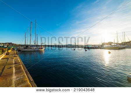 La Maddalena harbor at sunset in Sardinia