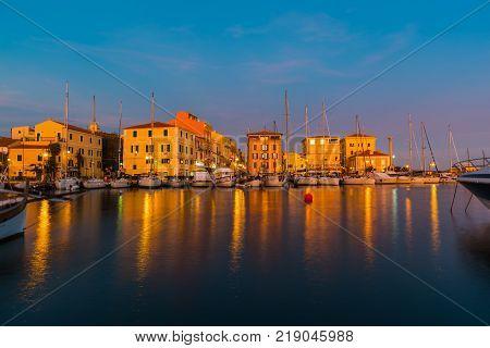 La Maddalena port at sunset in Sardinia