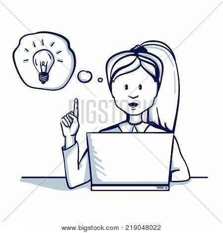 Young business woman sitting at the table next to her laptop she had an idea. Hand drawn doodle cartoon vector illustration.