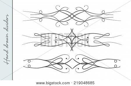 Vector hand drawn elegant flourish ornate text divider graphic design element set. Designer art vintage border for Wedding invite card page decoration. Delicate swirls delicate calligraphy motif
