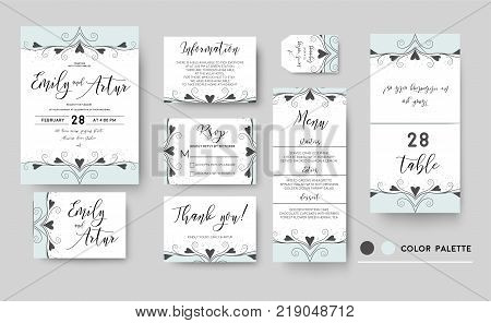 Wedding invite invitation save the date thank you rsvp menu card set template elegant design: vector hand drawn lovely flourish border graphic delicate swirls hearts ornatate motif vintage blue dots