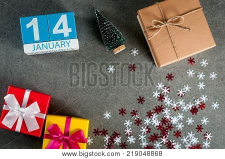 Old New Year. January 7th. Image 7 day of january month, calendar at christmas and happy new year background with gifts.