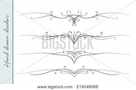 Vector hand drawn elegant flourish text divider graphic design element set. Designer art border for Wedding invite card page decoration. Elegant calligraphic swirls dots delicate motif ornament