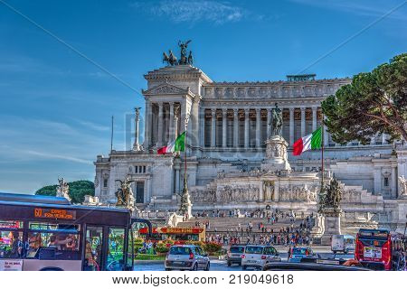 Rome Italy October 12 2017: Altar of the fatherland in Venice square